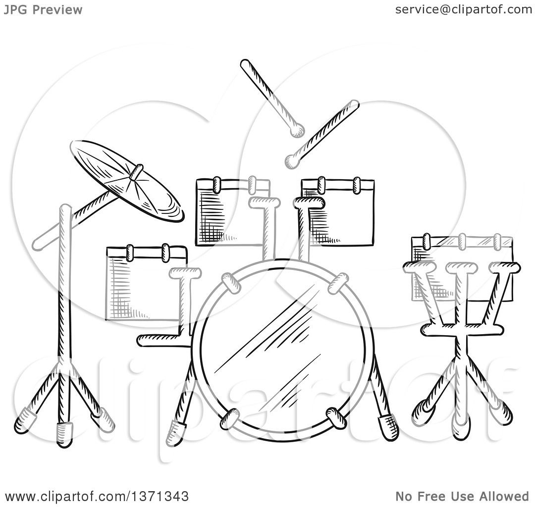 1080x1024 Clipart Of A Black And White Sketched Drum Set
