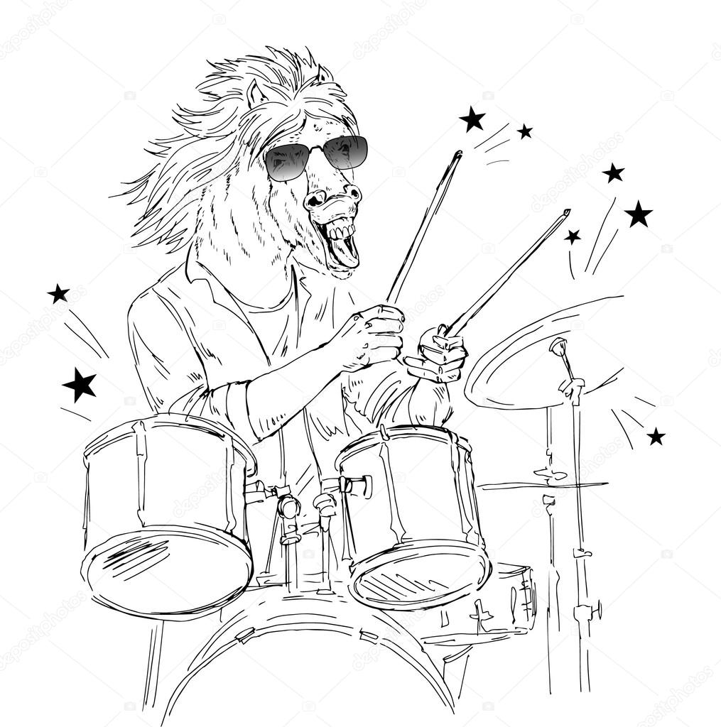 1015x1024 Hand Drawn Horse Drummer Stock Vector Olga.angelloz