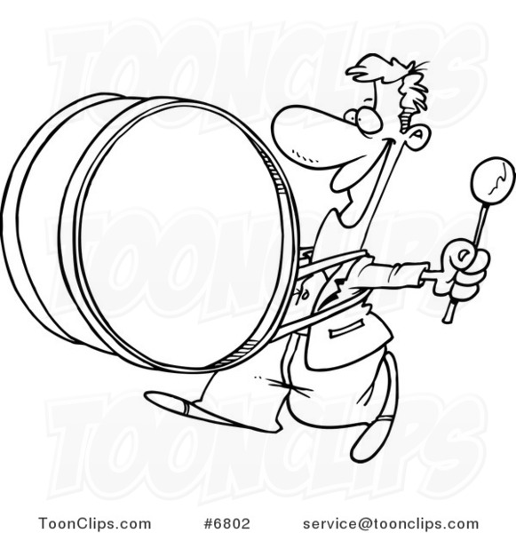 581x600 Cartoon Black And White Line Drawing Of A Happy Drummer