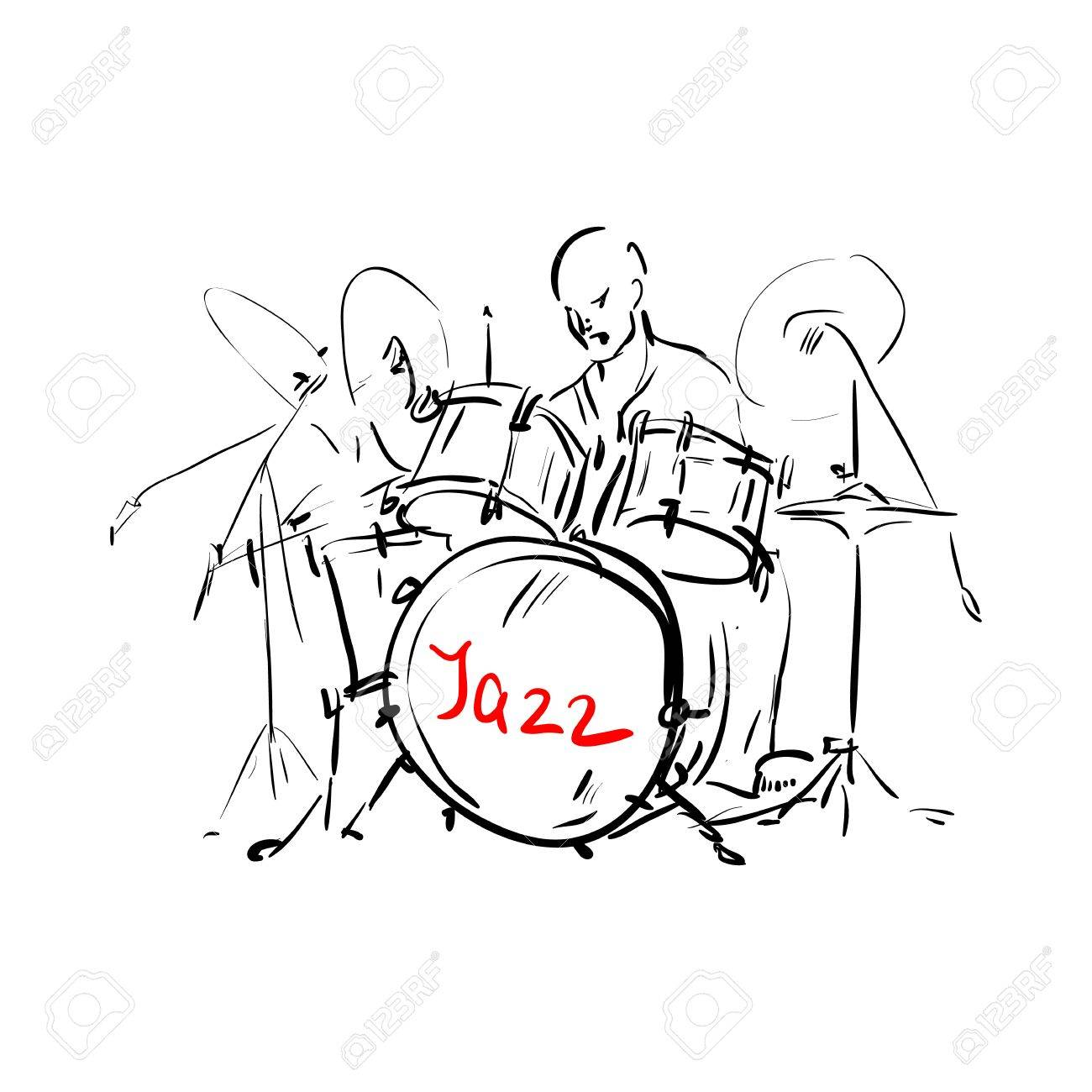 1300x1300 Sketch. Drummer. Vector Illustration. Royalty Free Cliparts