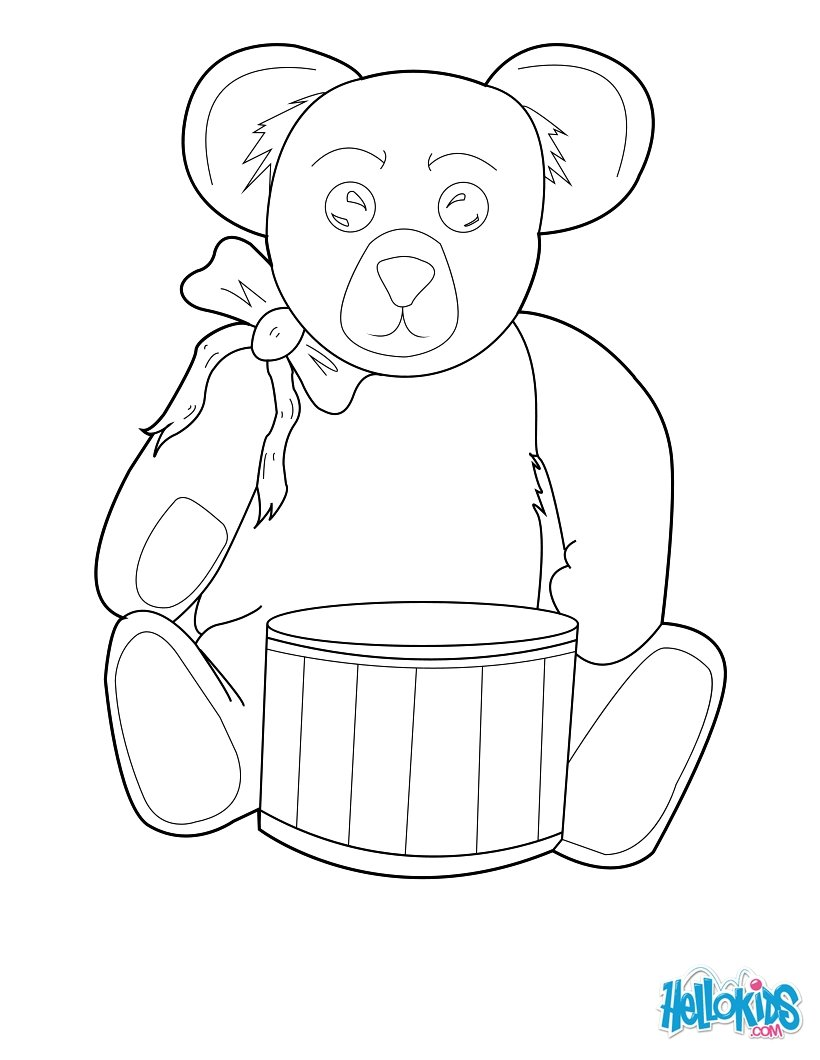 820x1060 Teddy Bear Drummer Coloring Pages