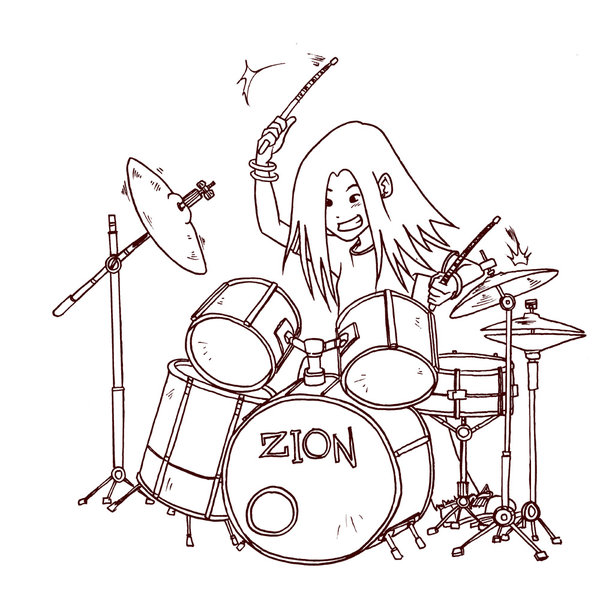 600x595 Tin The Drummer Girl Line Art By Jhovs