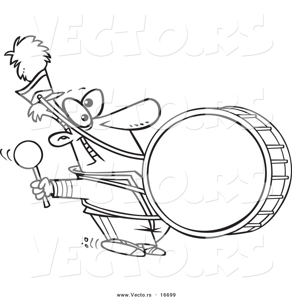 1024x1044 Vector Of A Cartoon Marching Band Drummer