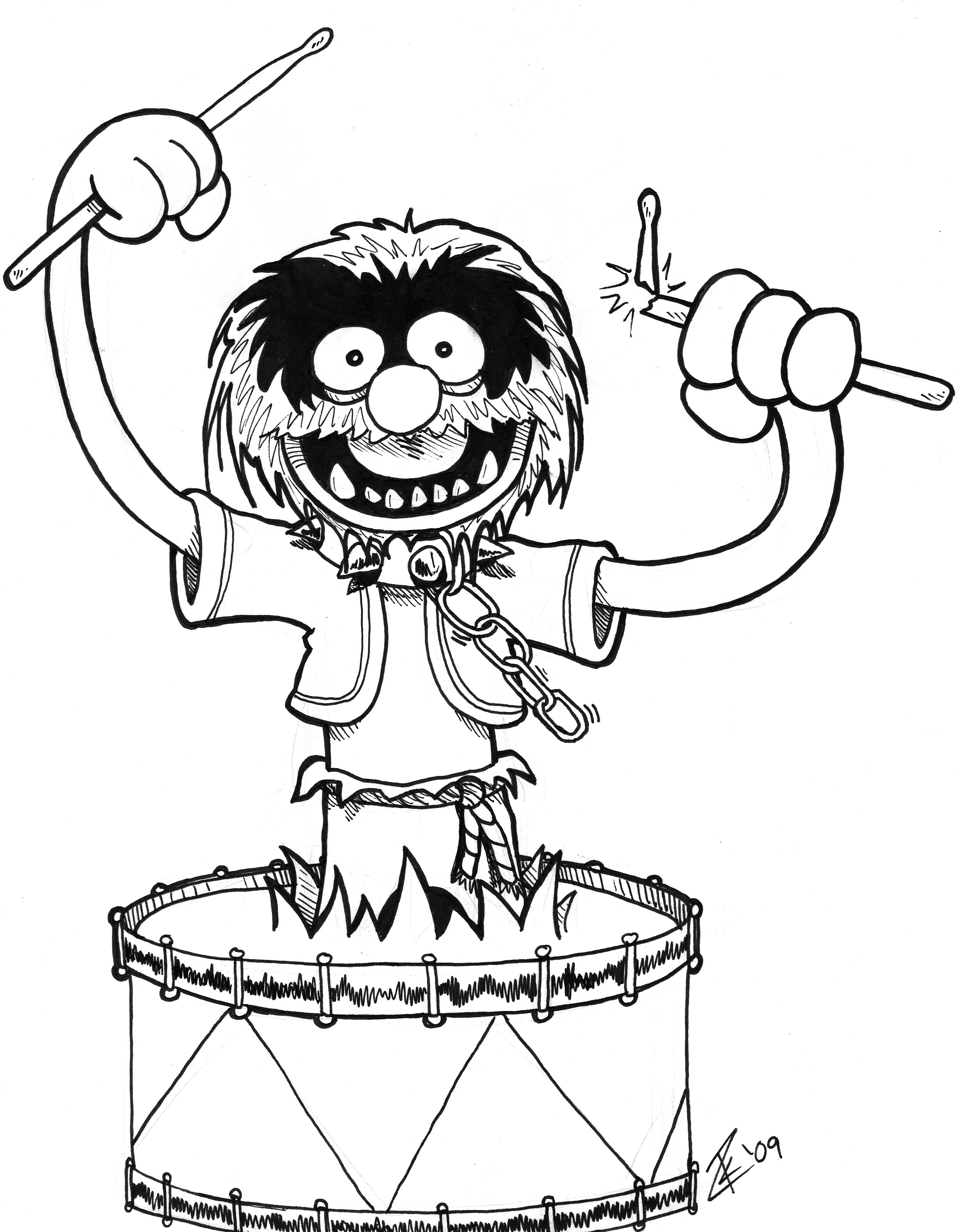 2469x3161 Drum Drawings Animal From The Muppets. Drawn During Heroes Con