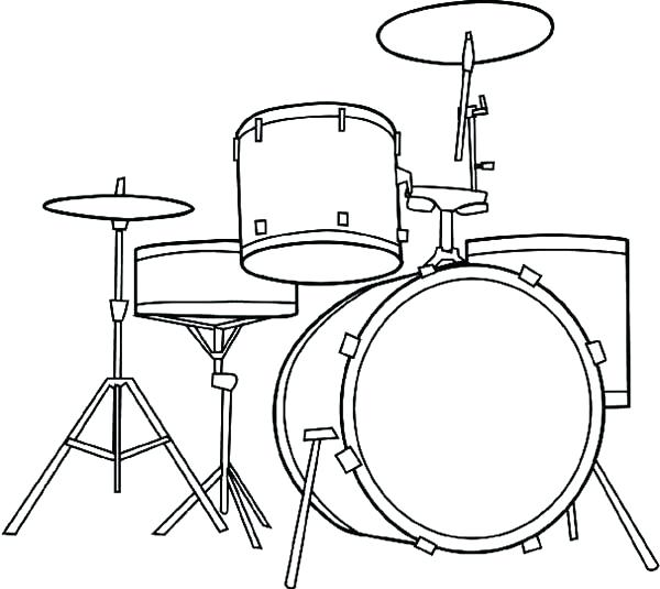 free printable coloring pages of musical instruments - drums drawing at free for personal use