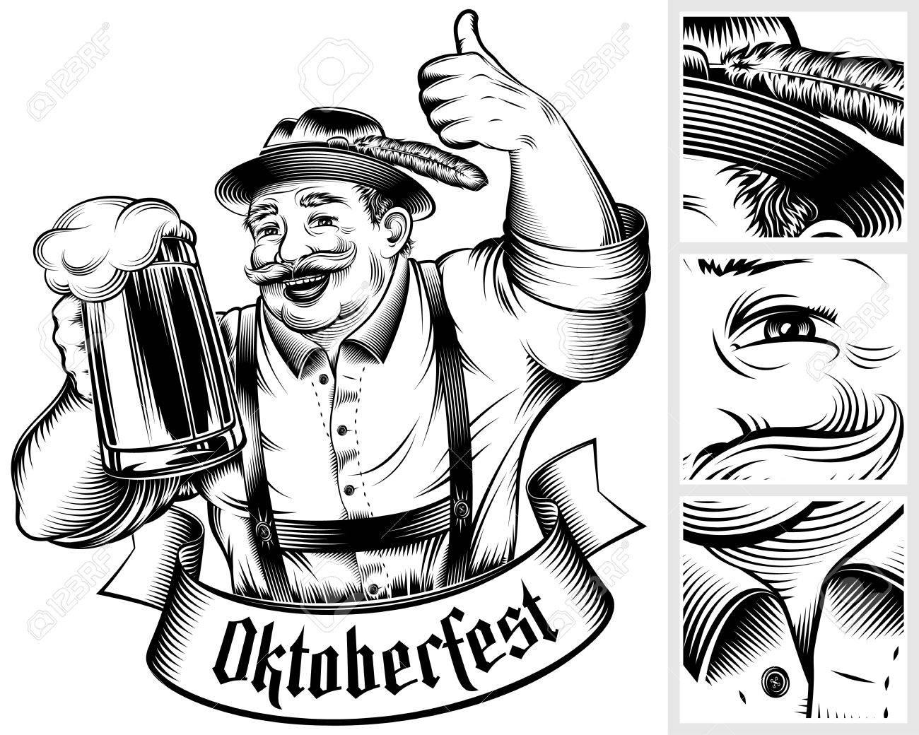 1300x1040 Beer Festival Oktoberfest. Man Holding Beer Glass With Foamy