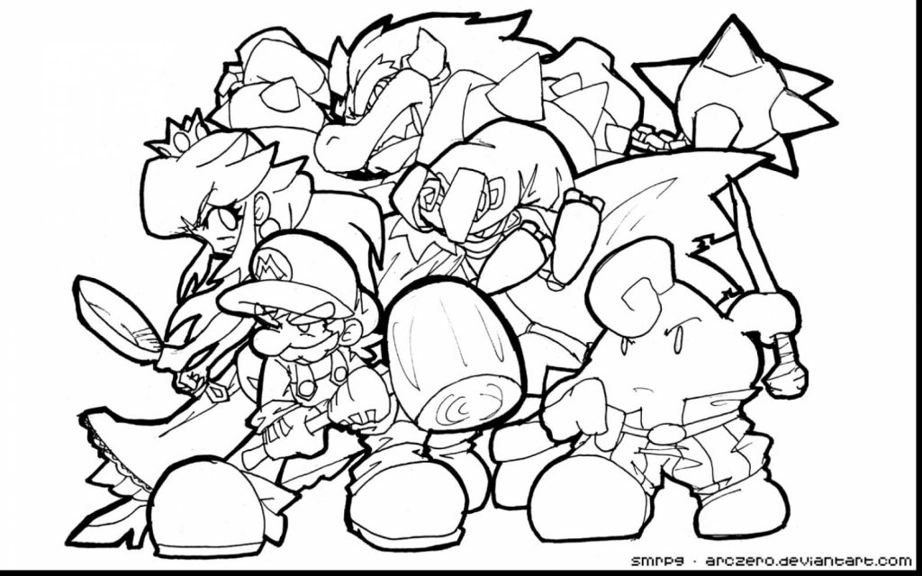 1024x640 Bowser Jr Coloring Page Free Printable Super Mario Dry Pages