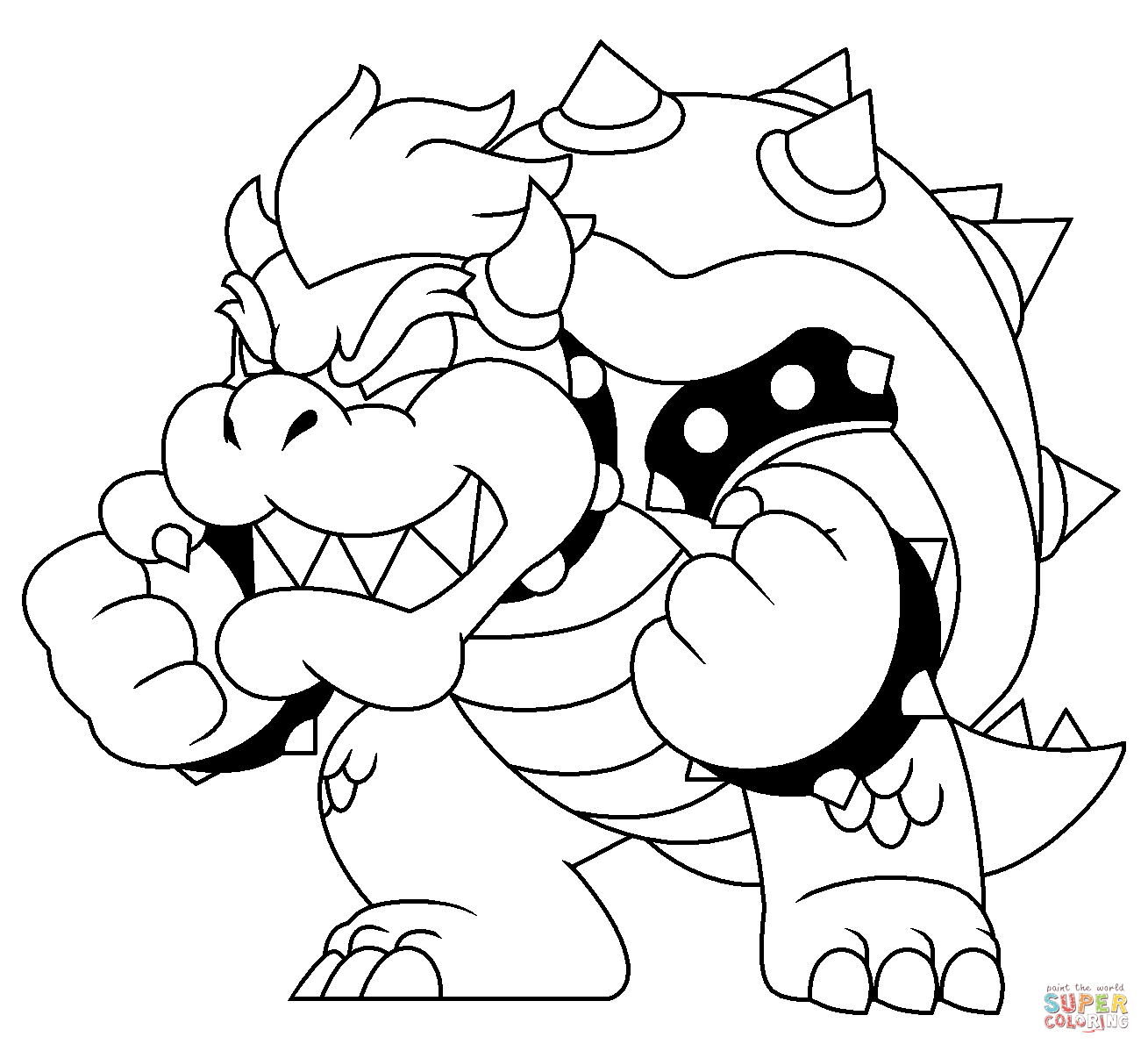 bowser and bowser jr coloring pages | Dry Bowser Drawing at GetDrawings.com | Free for personal ...