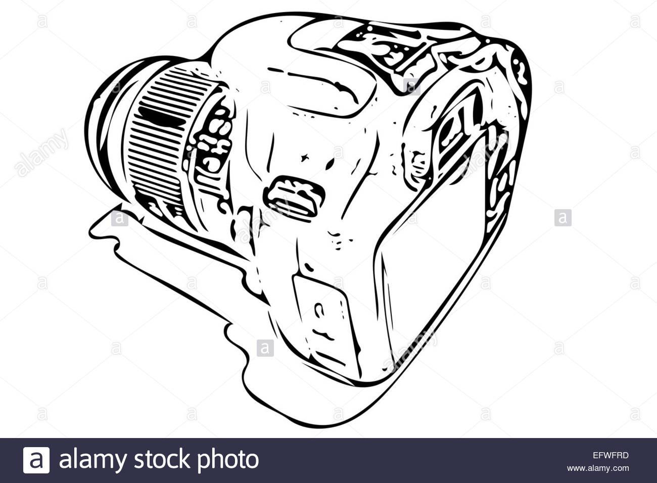 1300x956 Dslr Camera Illustration Stock Photo, Royalty Free Image 78622529