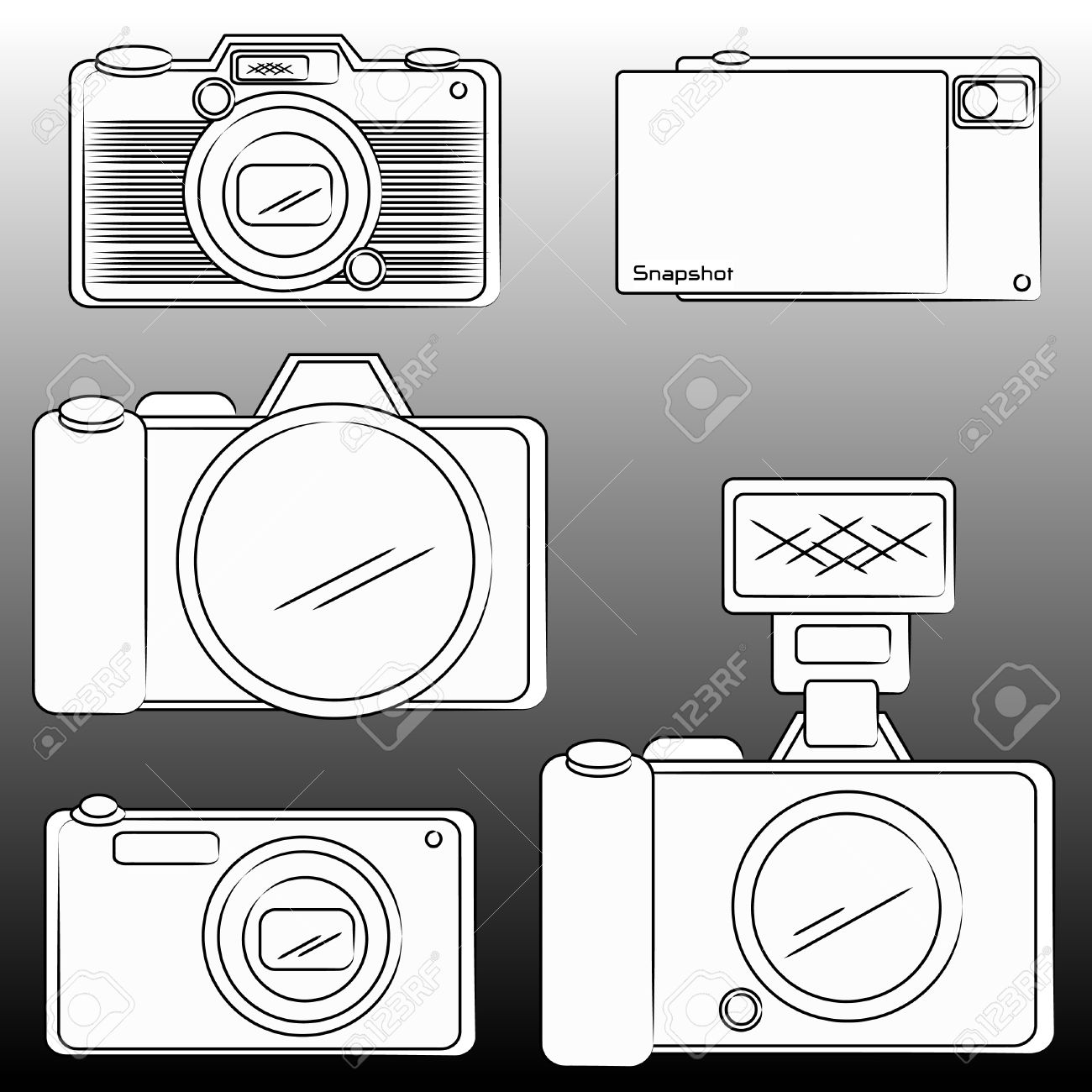 1300x1300 The Pencil Sketch Of Dslr And Camera Royalty Free Cliparts