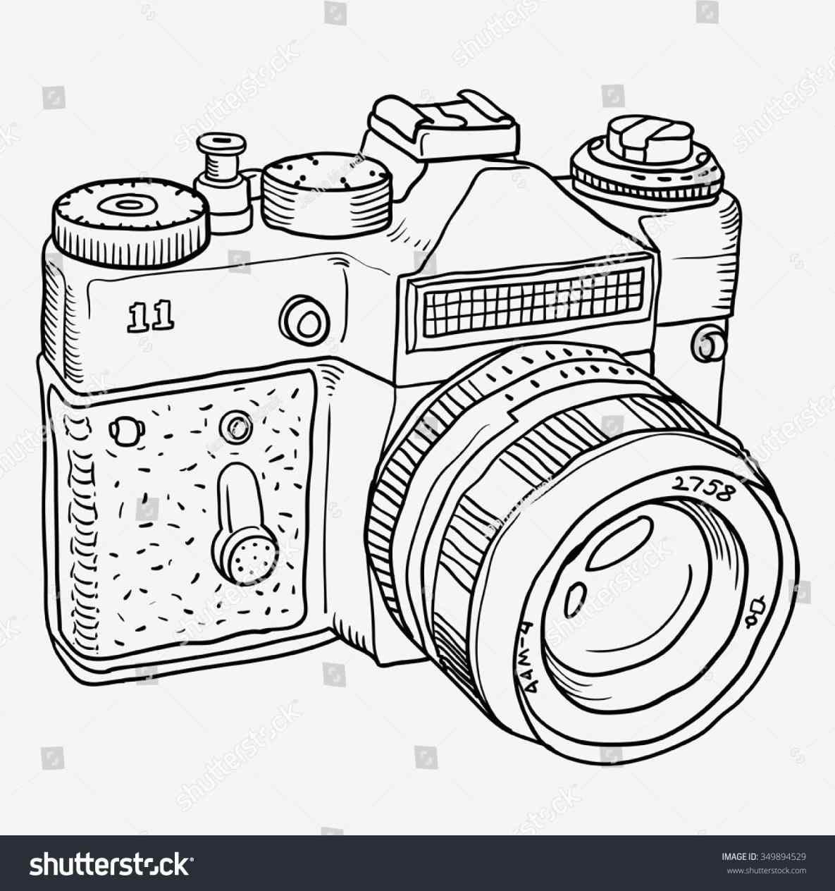 1185x1264 Retro Icon Line Retro Vintage Camera Outline Icon Line Stock