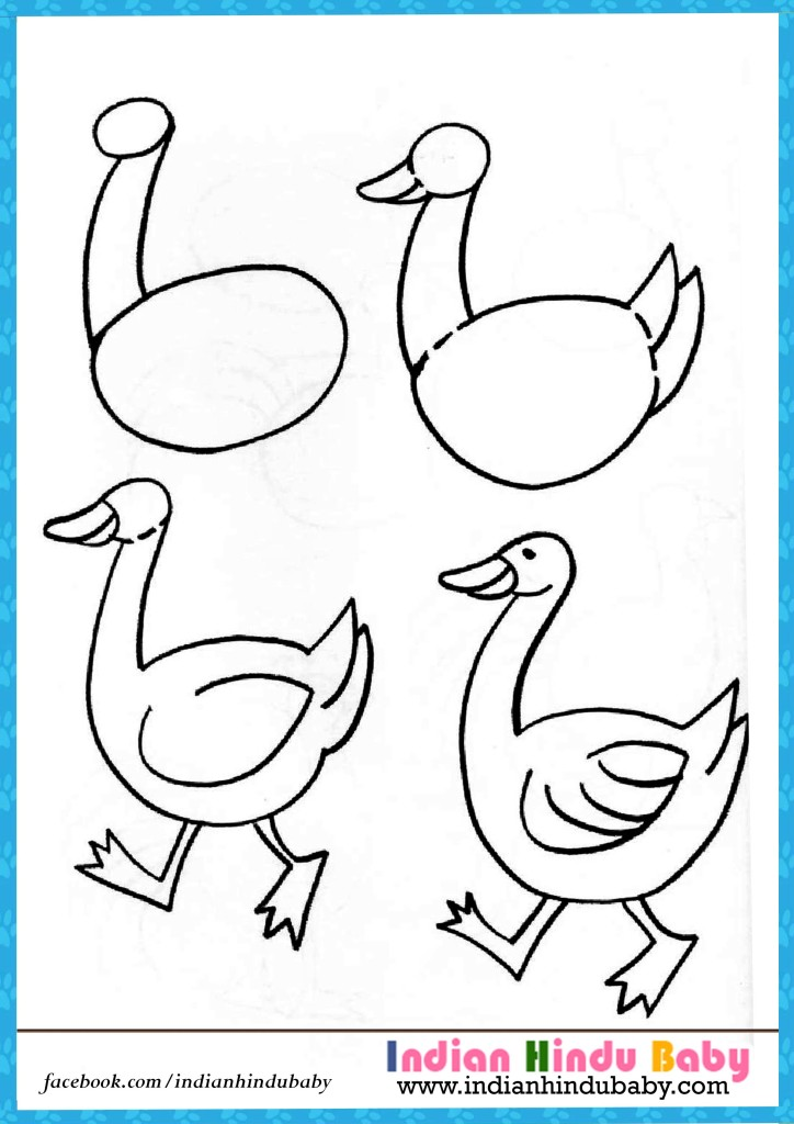 724x1024 Duck Step By Step Drawing For Kids Indian Hindu Baby