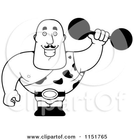 450x470 Cartoon Clipart Of A Black And White Strongman Holding A Dumbbell