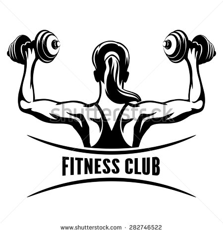 450x470 Fitness Club Logo Or Emblem With Training Muscled Woman. Woman