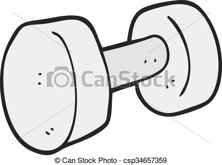 450x335 Freehand Drawn Cartoon Dumbbell Clipart Vector