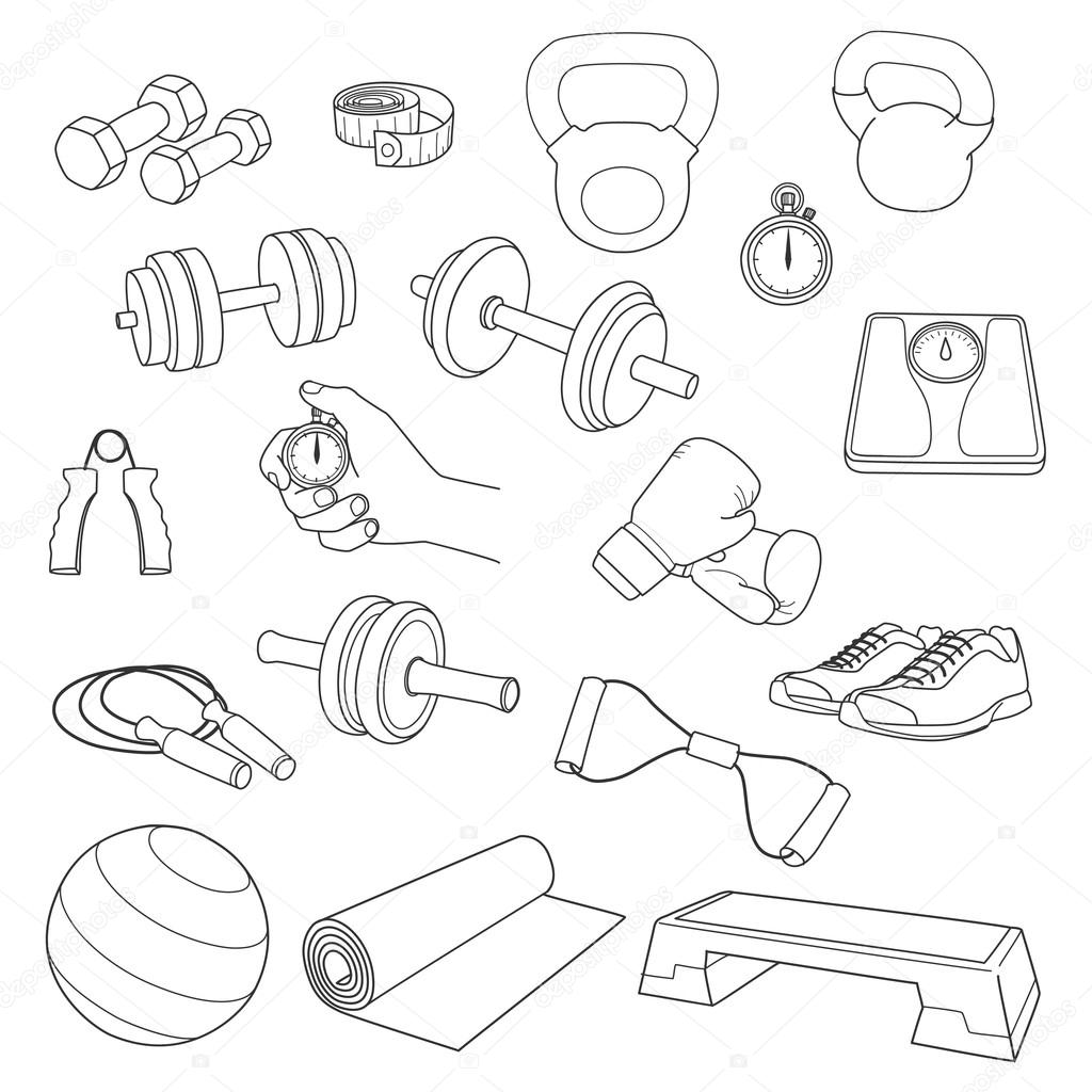 1024x1024 Hand Drawn Set Of Fitness Accessories. Dumbbells, Exercise Ball