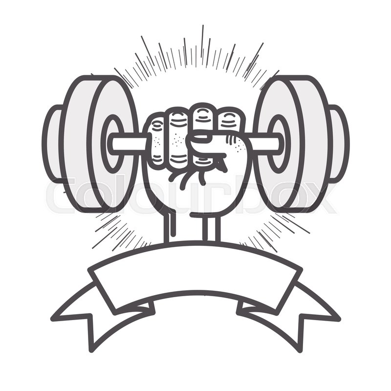 800x800 Hand Holding A Dumbbells Gym Equipment With Ribbon And Sunburst