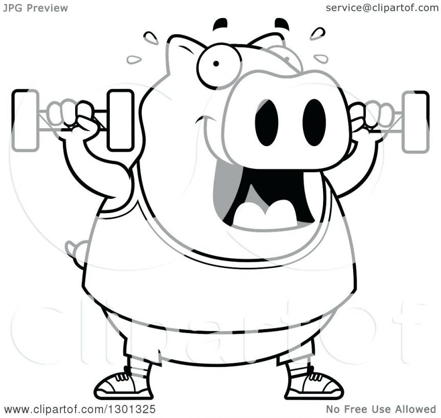 863x818 Outline Of A Cartoon Black And White Chubby Pig Working Out