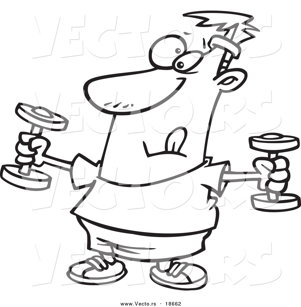 1024x1044 Vector Of A Cartoon Man Exercising With Dumbbells