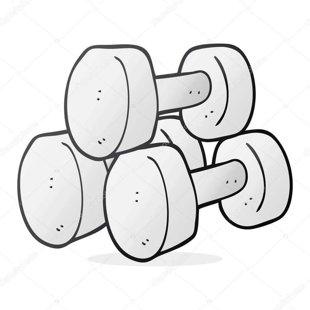 1024x1024 Freehand Drawn Cartoon Dumbbells Stock Vector Lineartestpilot
