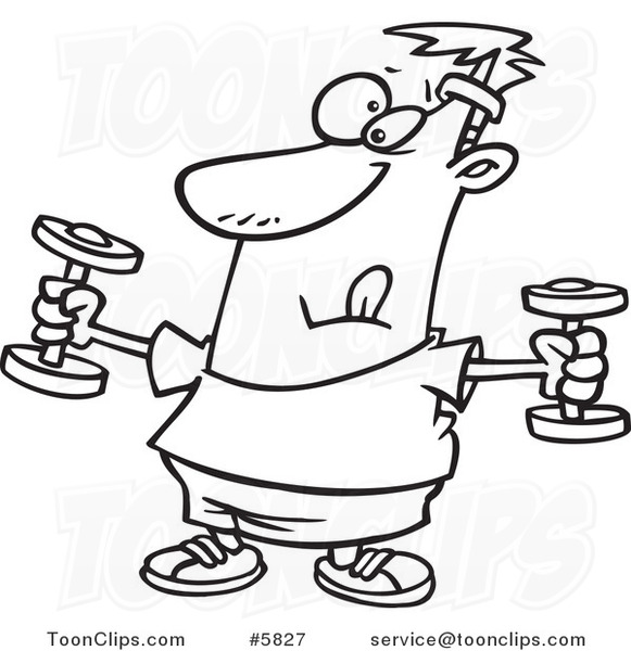581x600 Cartoon Black And White Line Drawing Of A Guy Exercising