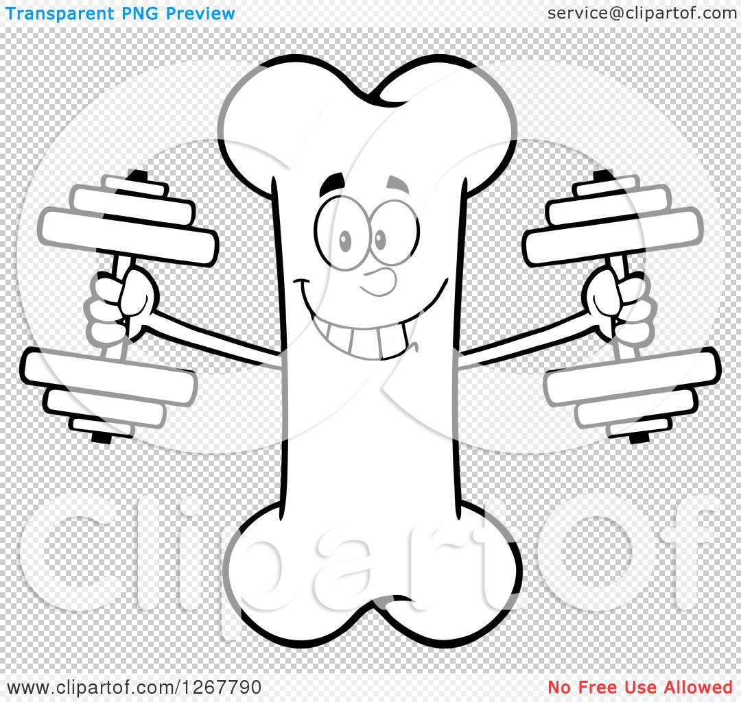 1080x1024 Clipart Of A Black And White Happy Cartoon Bone Character Working
