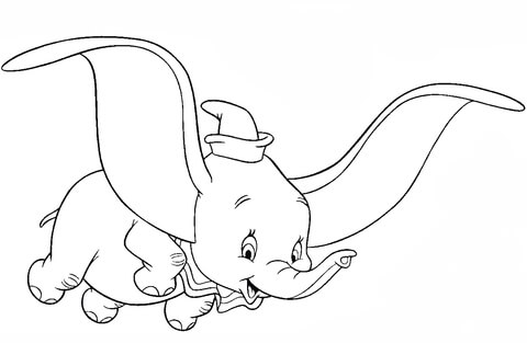480x313 Dumbo, The Flying Elephant Coloring Page Free Printable Coloring