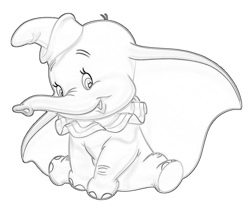 Dumbo drawing at free for personal use for Dumbo the elephant coloring pages