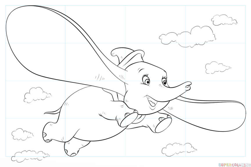 864x575 How To Draw Dumbo Flying Step By Step Drawing Tutorials