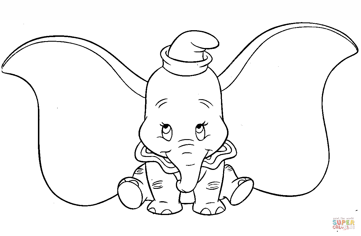 1256x821 Cute Dumbo Coloring Page Free Printable Coloring Pages