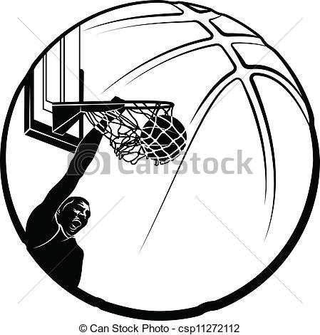 449x470 Vector Clip Art Of Basketball Dunk Silhouette