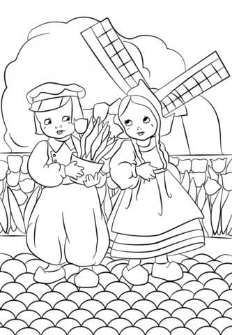 333x480 Dutch Boy And Girl Coloring Page Free Printable Pages