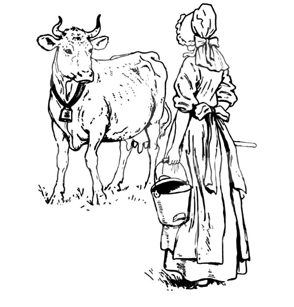 600x627 dutch lady want to milking her cow coloring pages color luna