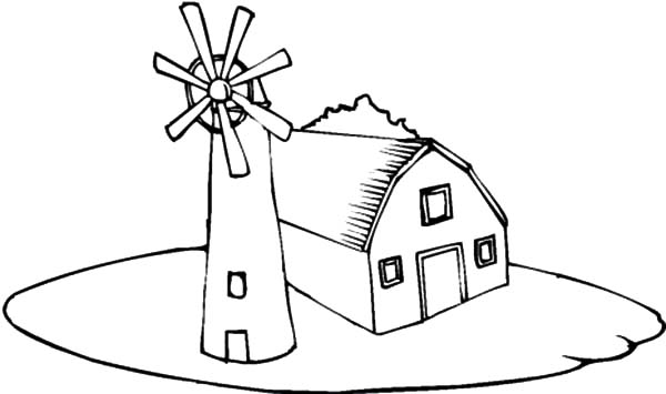 600x355 Farm House Coloring Pages Farmhouse Near The Windmills Coloring