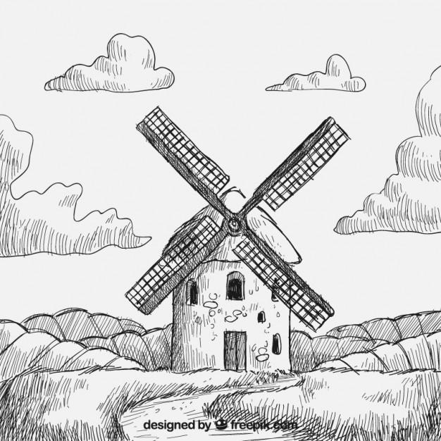 626x626 Molino De Viento Dibujado A Mano Vector Gratis Dibujando Y