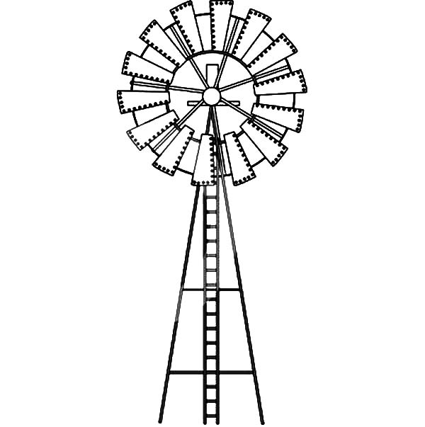 600x603 Single Big Windmills Coloring Pages Batch Coloring
