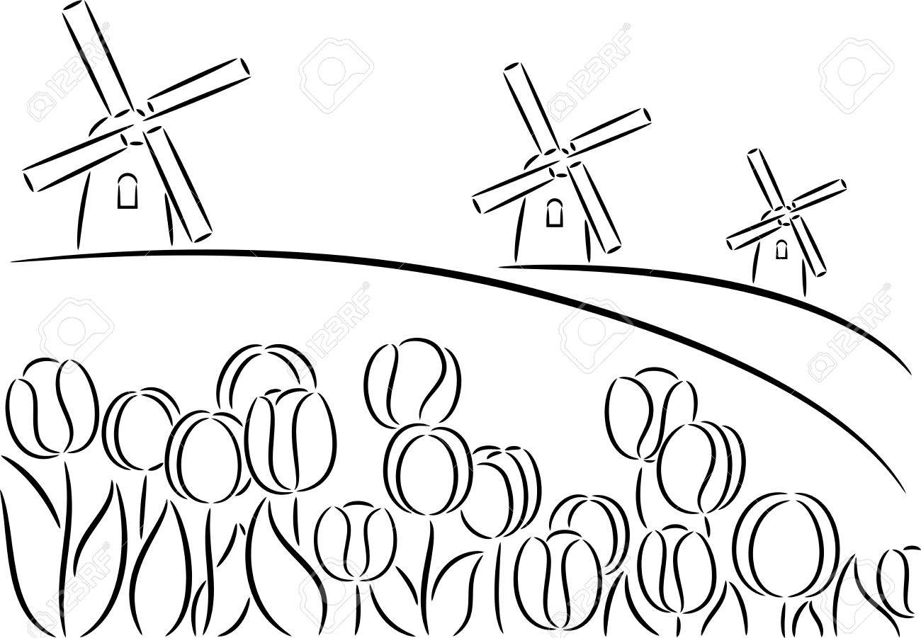 1300x901 Sketch Holland Windmill And Tulips, Isolated Royalty Free Cliparts