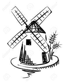 236x288 Sketch Of Old, Vinetage Windmill Dutch Clip Art