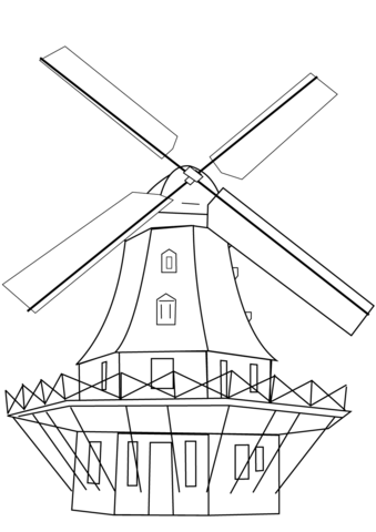 339x480 Smock Mill Coloring Page Free Printable Coloring Pages