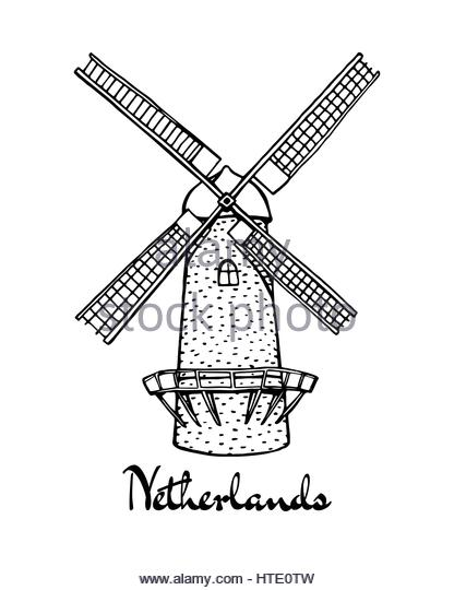 416x540 Traditional Dutch Windmill Vector Stock Photos Amp Traditional Dutch