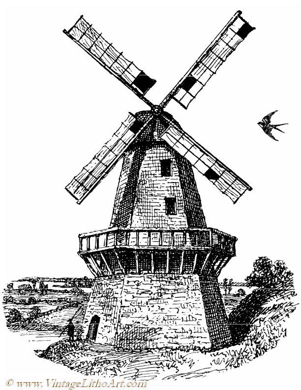 612x792 Vintagelithoartvintage Black Amp White Illustration