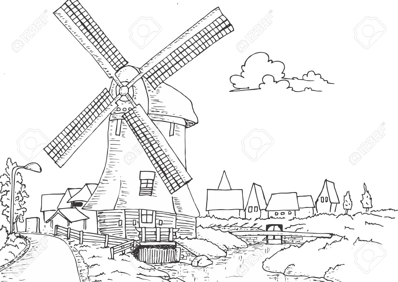 1300x922 Windmill Old Retro Vintage Hand Drawing Illustration Royalty Free