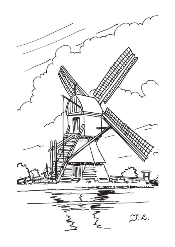 596x842 coloring page windmills downloads and sketches pinterest