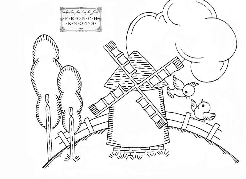 800x582 Free Dutch Windmill Hand Embroidery Transfer Pattern