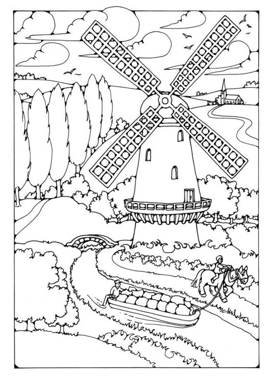 531x750 Windmill Coloring Page