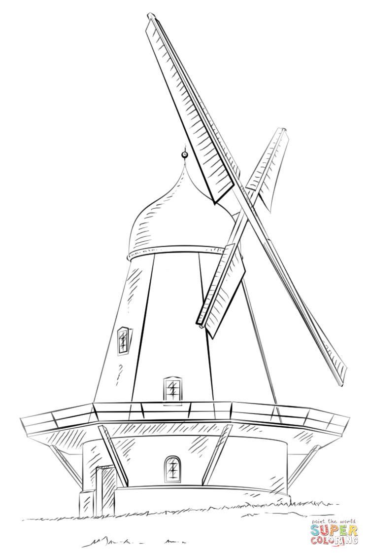 749x1129 Dutch Windmill Coloring Page Free Printable Coloring Pages