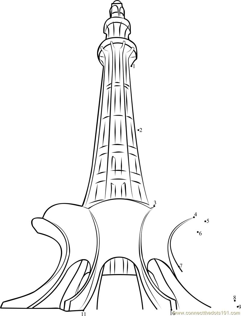 800x1049 Minar E Pakistan Dot To Dot Printable Worksheet