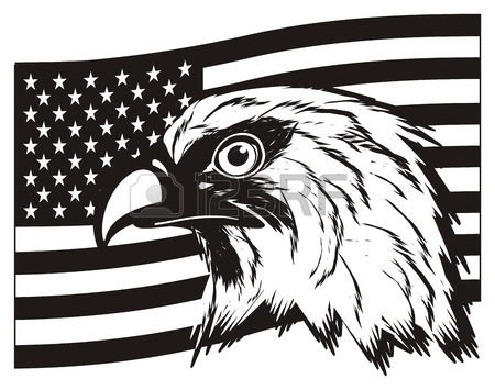 450x355 Black And White Usa Flag With Head Of Eagle Stock Photo, Picture