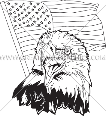 353x385 Eagle Amp Flag Production Ready Artwork For T Shirt Printing