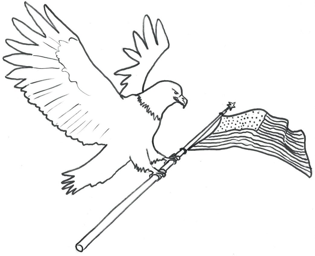 1043x848 Bald Eagle Coloring Pages Printable Drawn Cute Pencil And In Color